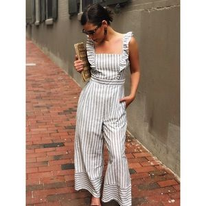Pants - 🆕Ryan Gray Striped Ruffle Jumpsuit